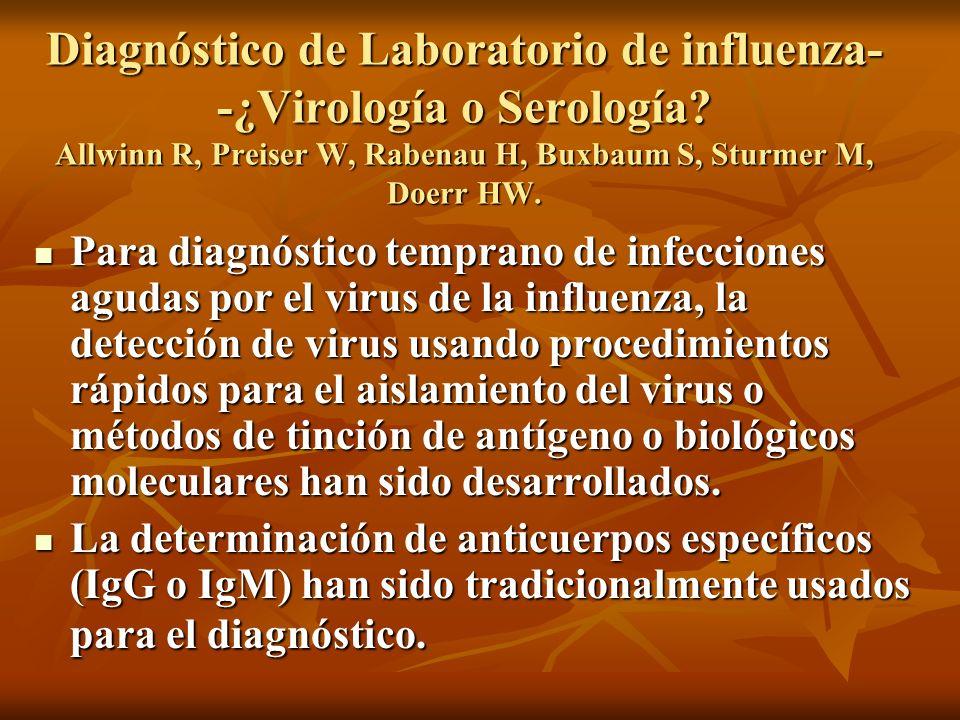 Diagnóstico de Laboratorio de influenza- -¿Virología o Serología? Allwinn R, Preiser W, Rabenau H, Buxbaum S, Sturmer M, Doerr HW. Para diagnóstico te