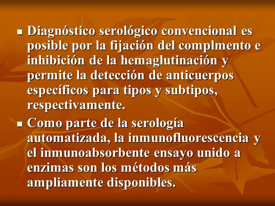Diagnóstico serológico convencional es posible por la fijación del complmento e inhibición de la hemaglutinación y permite la detección de anticuerpos