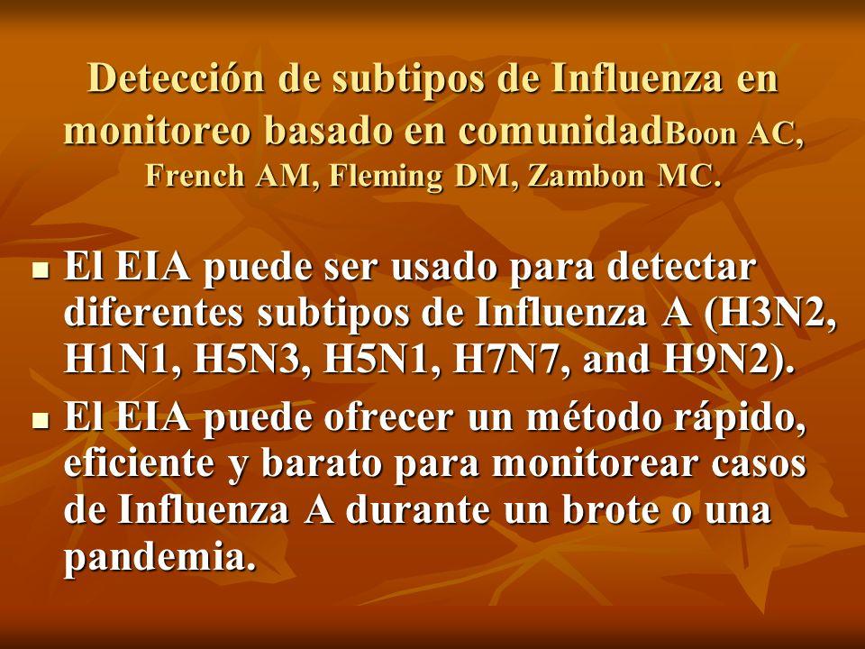 Detección de subtipos de Influenza en monitoreo basado en comunidad Boon AC, French AM, Fleming DM, Zambon MC. El EIA puede ser usado para detectar di