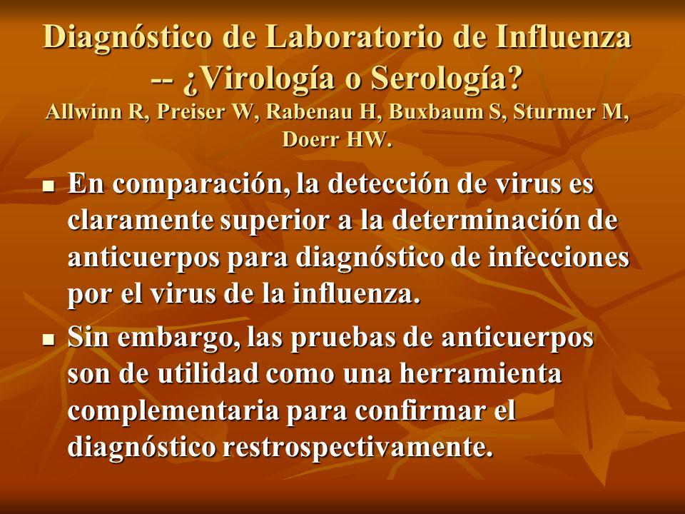 En comparación, la detección de virus es claramente superior a la determinación de anticuerpos para diagnóstico de infecciones por el virus de la infl