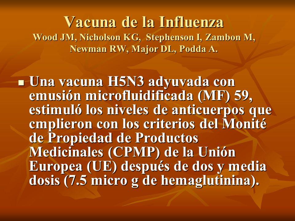 Vacuna de la Influenza Wood JM, Nicholson KG, Stephenson I, Zambon M, Newman RW, Major DL, Podda A. Una vacuna H5N3 adyuvada con emusión microfluidifi