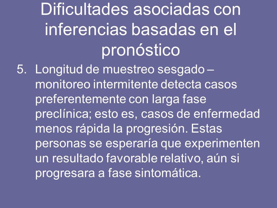 5.Longitud de muestreo sesgado – monitoreo intermitente detecta casos preferentemente con larga fase preclínica; esto es, casos de enfermedad menos rá