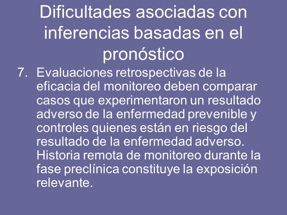 7.Evaluaciones retrospectivas de la eficacia del monitoreo deben comparar casos que experimentaron un resultado adverso de la enfermedad prevenible y