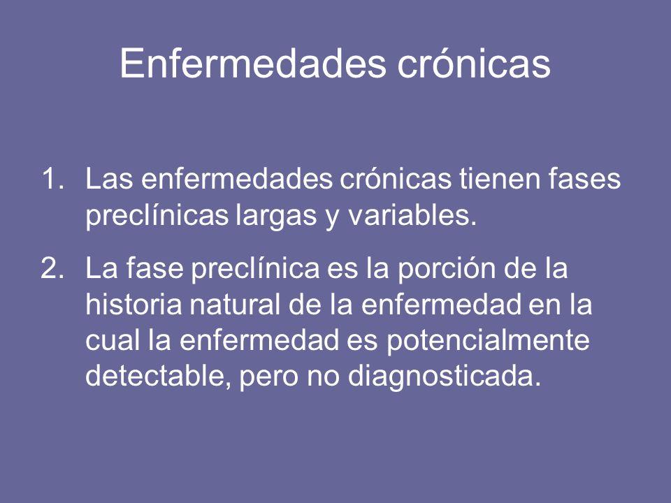 Enfermedades crónicas 1.Las enfermedades crónicas tienen fases preclínicas largas y variables. 2.La fase preclínica es la porción de la historia natur