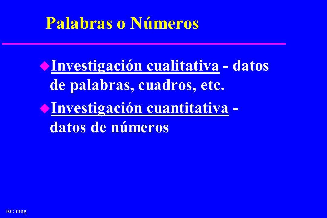 BC Jung Palabras o Números u Investigación cualitativa - datos de palabras, cuadros, etc. u Investigación cuantitativa - datos de números