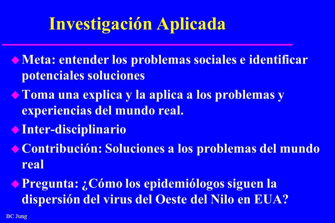 BC Jung Investigación Aplicada u Meta: entender los problemas sociales e identificar potenciales soluciones u Toma una explica y la aplica a los probl