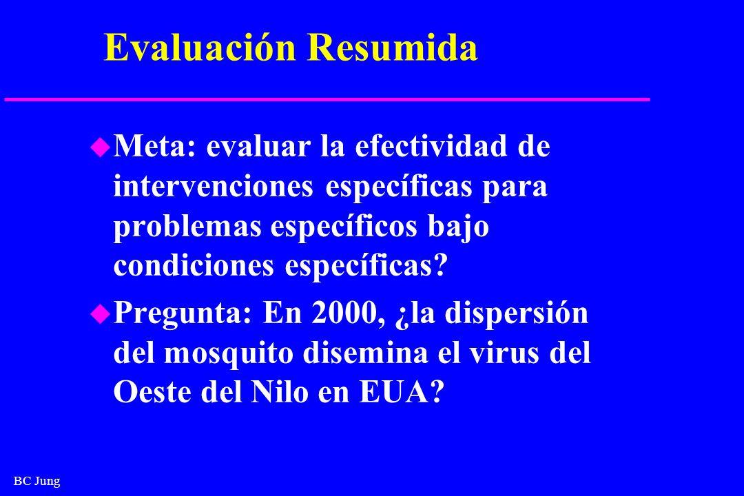 BC Jung Evaluación Resumida u Meta: evaluar la efectividad de intervenciones específicas para problemas específicos bajo condiciones específicas? u Pr