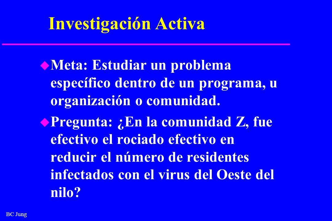 BC Jung Investigación Activa u Meta: Estudiar un problema específico dentro de un programa, u organización o comunidad. u Pregunta: ¿En la comunidad Z