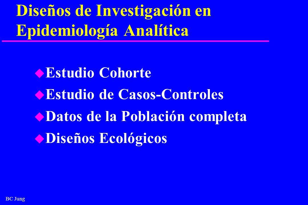 BC Jung Diseños de Investigación en Epidemiología Analítica u Estudio Cohorte u Estudio de Casos-Controles u Datos de la Población completa u Diseños
