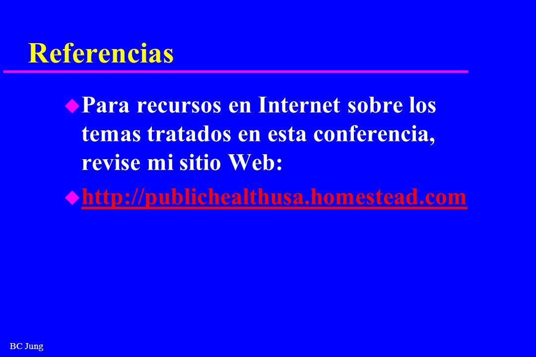 BC Jung Referencias u Para recursos en Internet sobre los temas tratados en esta conferencia, revise mi sitio Web: u http://publichealthusa.homestead.