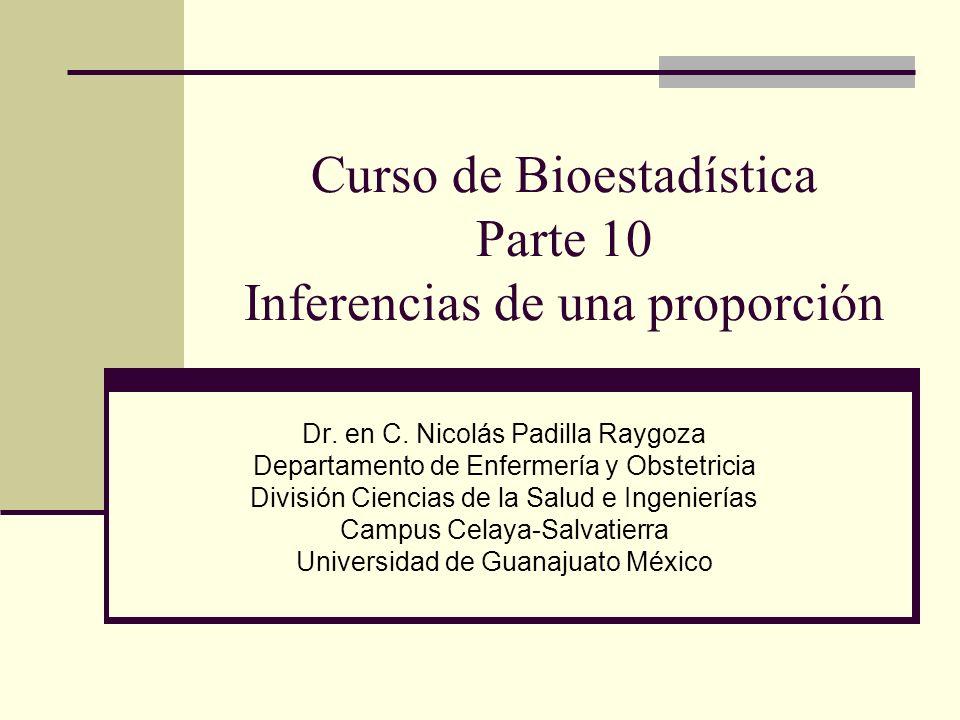 Curso de Bioestadística Parte 10 Inferencias de una proporción Dr. en C. Nicolás Padilla Raygoza Departamento de Enfermería y Obstetricia División Cie
