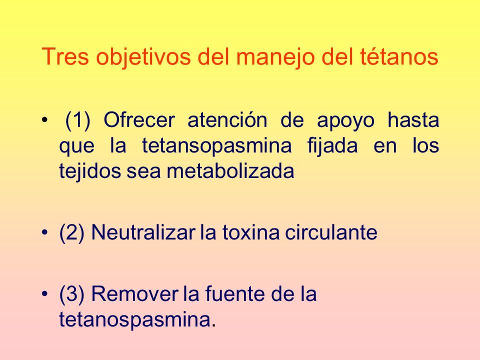 Tres objetivos del manejo del tétanos (1) Ofrecer atención de apoyo hasta que la tetansopasmina fijada en los tejidos sea metabolizada (2) Neutralizar