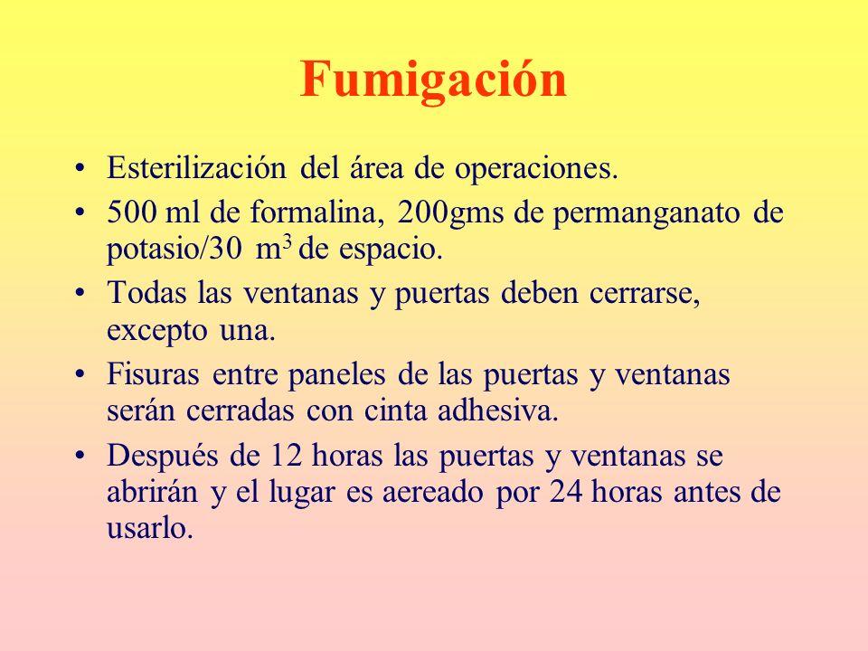 Fumigación Esterilización del área de operaciones. 500 ml de formalina, 200gms de permanganato de potasio/30 m 3 de espacio. Todas las ventanas y puer