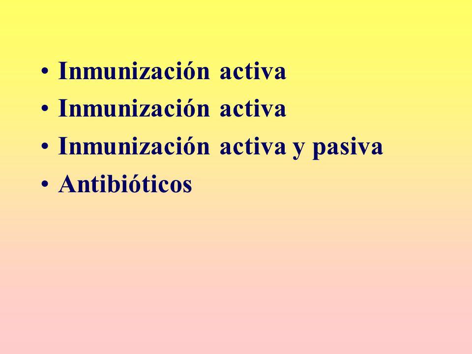 Inmunización activa Inmunización activa y pasiva Antibióticos