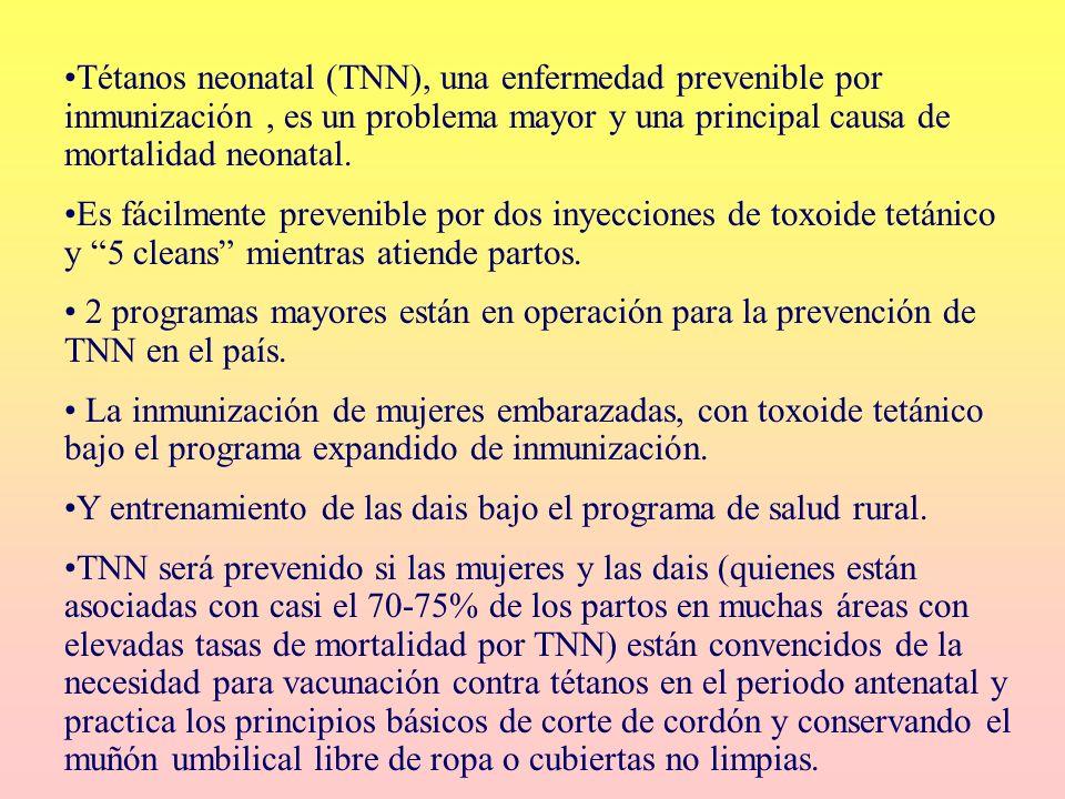 Tétanos neonatal (TNN), una enfermedad prevenible por inmunización, es un problema mayor y una principal causa de mortalidad neonatal. Es fácilmente p