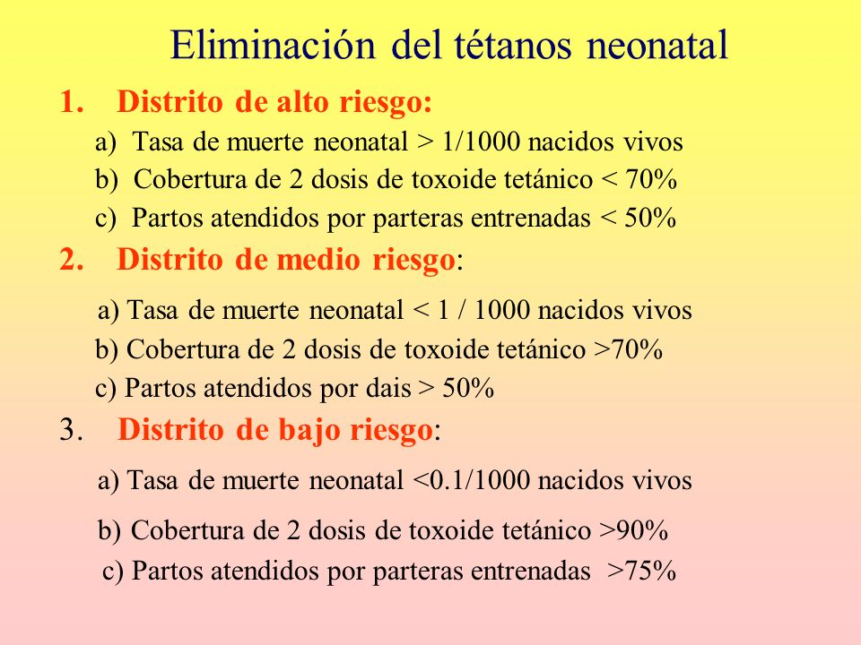Eliminación del tétanos neonatal 1.Distrito de alto riesgo: a) Tasa de muerte neonatal > 1/1000 nacidos vivos b) Cobertura de 2 dosis de toxoide tetán