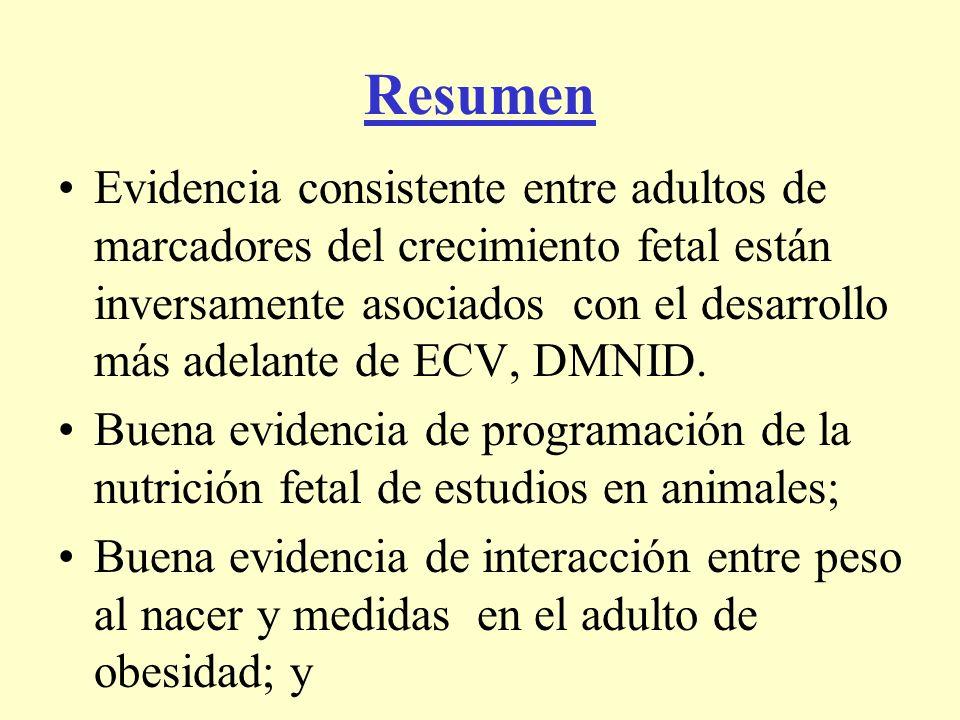 Resumen Evidencia consistente entre adultos de marcadores del crecimiento fetal están inversamente asociados con el desarrollo más adelante de ECV, DM