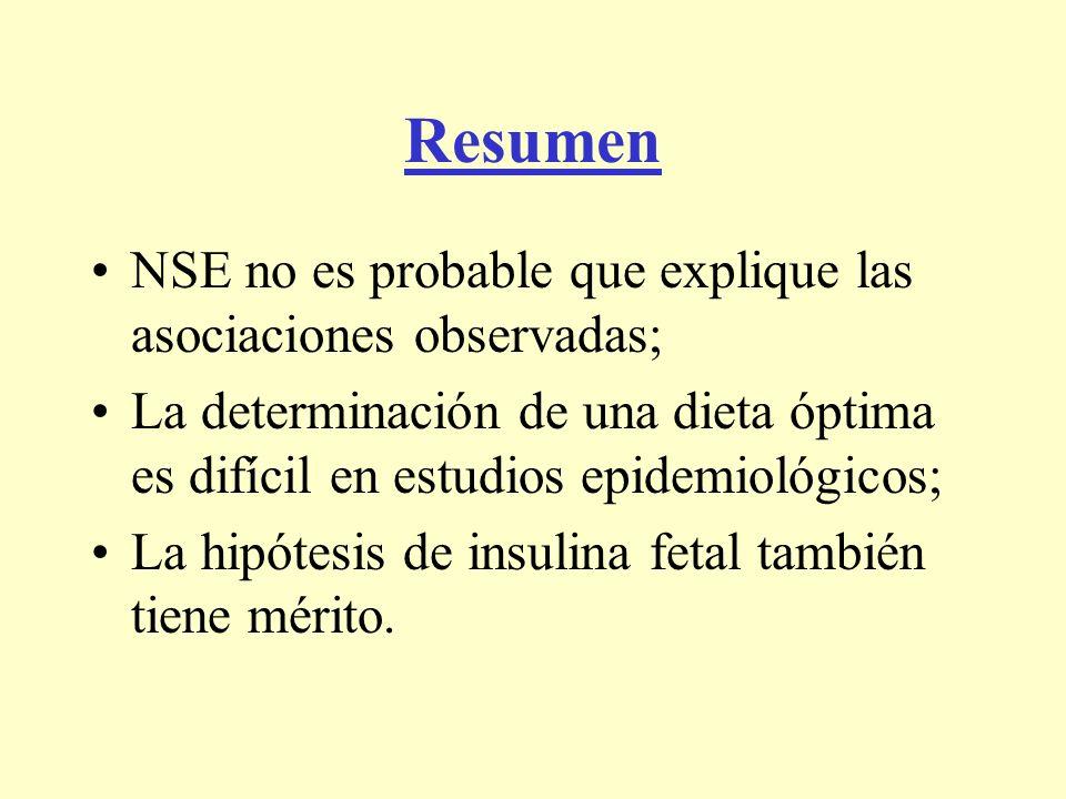 Resumen NSE no es probable que explique las asociaciones observadas; La determinación de una dieta óptima es difícil en estudios epidemiológicos; La h