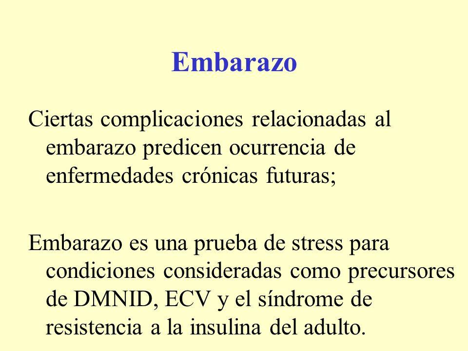 Embarazo Ciertas complicaciones relacionadas al embarazo predicen ocurrencia de enfermedades crónicas futuras; Embarazo es una prueba de stress para c