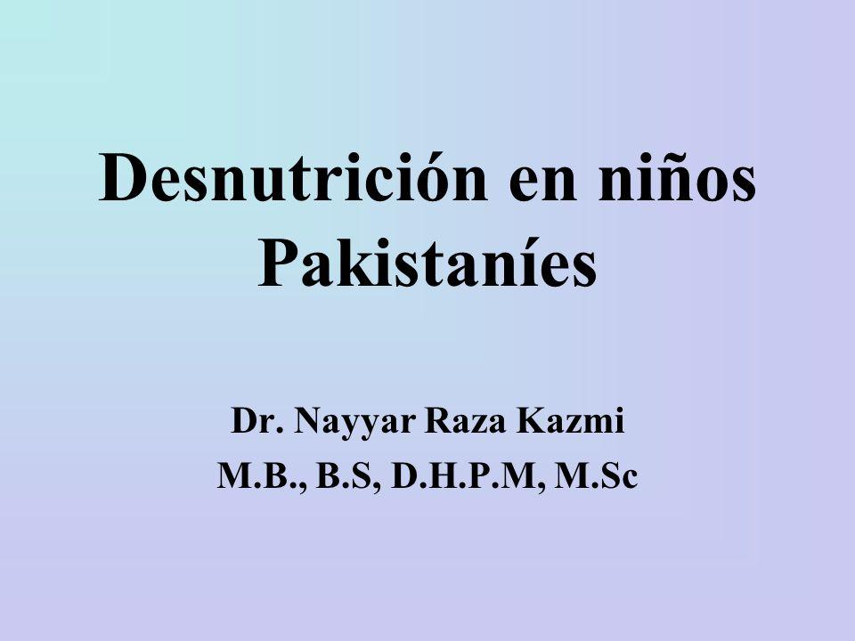 Objetivos del aprendizaje Entender la carga de la desnutrición en Pakistán.