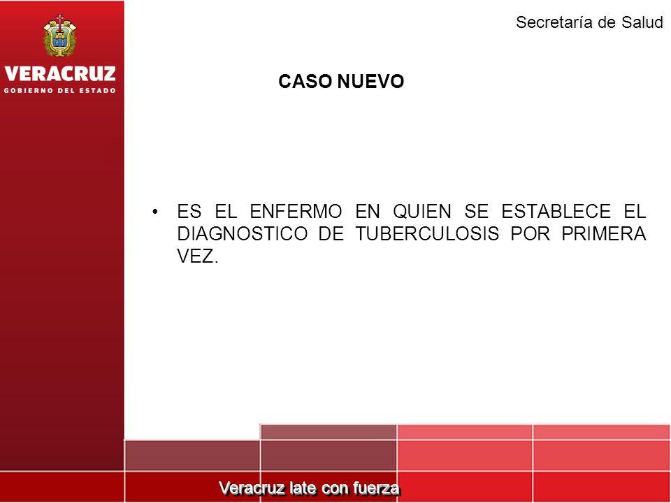 Veracruz late con fuerza Secretaría de Salud CASO NUEVO ES EL ENFERMO EN QUIEN SE ESTABLECE EL DIAGNOSTICO DE TUBERCULOSIS POR PRIMERA VEZ.