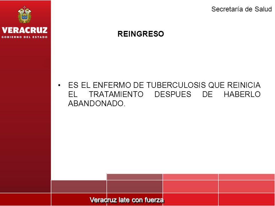 Veracruz late con fuerza Secretaría de Salud REINGRESO ES EL ENFERMO DE TUBERCULOSIS QUE REINICIA EL TRATAMIENTO DESPUES DE HABERLO ABANDONADO.