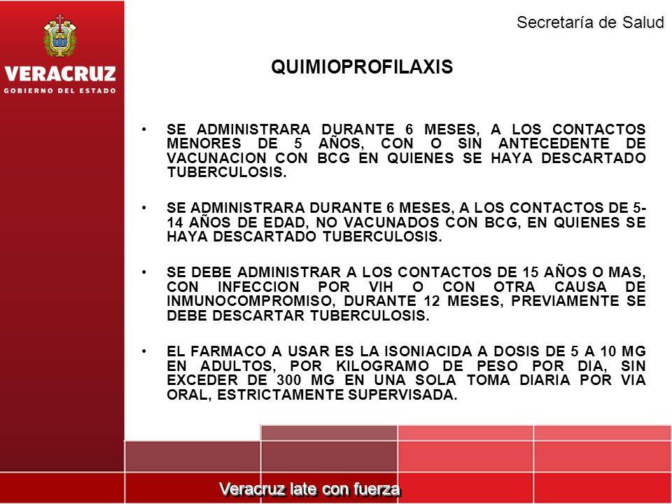 Veracruz late con fuerza Secretaría de Salud QUIMIOPROFILAXIS SE ADMINISTRARA DURANTE 6 MESES, A LOS CONTACTOS MENORES DE 5 AÑOS, CON O SIN ANTECEDENT