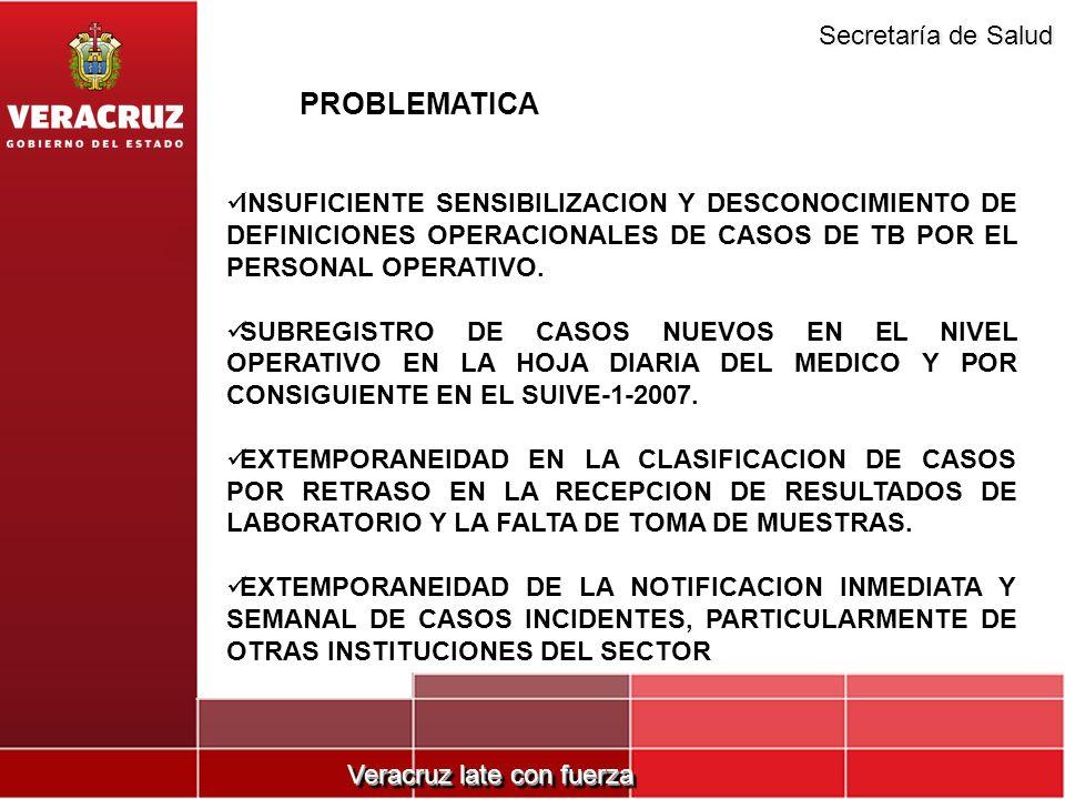 Veracruz late con fuerza Secretaría de Salud INSUFICIENTE SENSIBILIZACION Y DESCONOCIMIENTO DE DEFINICIONES OPERACIONALES DE CASOS DE TB POR EL PERSON