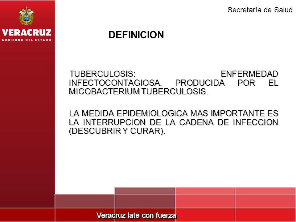 Veracruz late con fuerza Secretaría de Salud DEFINICION TUBERCULOSIS: ENFERMEDAD INFECTOCONTAGIOSA, PRODUCIDA POR EL MICOBACTERIUM TUBERCULOSIS. TUBER