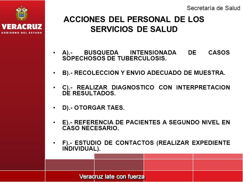 Veracruz late con fuerza Secretaría de Salud ACCIONES DEL PERSONAL DE LOS SERVICIOS DE SALUD A).- BUSQUEDA INTENSIONADA DE CASOS SOPECHOSOS DE TUBERCU
