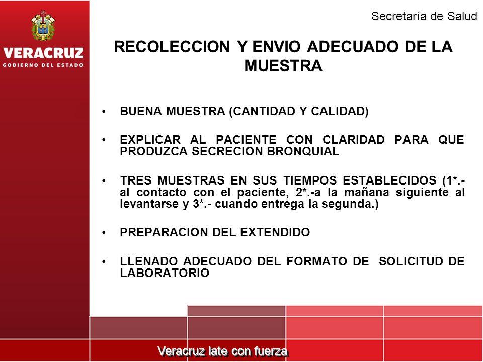 Veracruz late con fuerza Secretaría de Salud BUENA MUESTRA (CANTIDAD Y CALIDAD) EXPLICAR AL PACIENTE CON CLARIDAD PARA QUE PRODUZCA SECRECION BRONQUIA