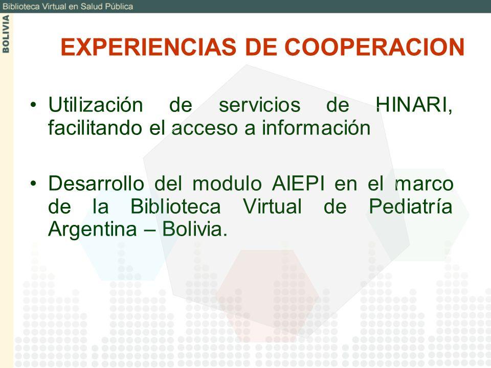 Utilización de servicios de HINARI, facilitando el acceso a información Desarrollo del modulo AIEPI en el marco de la Biblioteca Virtual de Pediatría