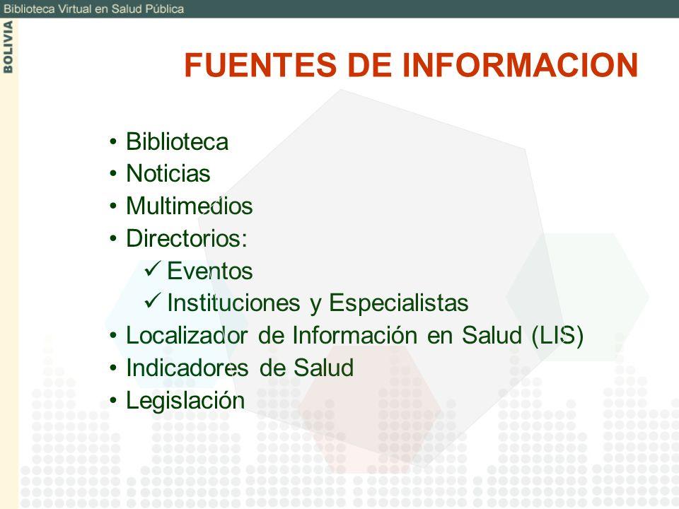 Biblioteca Noticias Multimedios Directorios: Eventos Instituciones y Especialistas Localizador de Información en Salud (LIS) Indicadores de Salud Legi