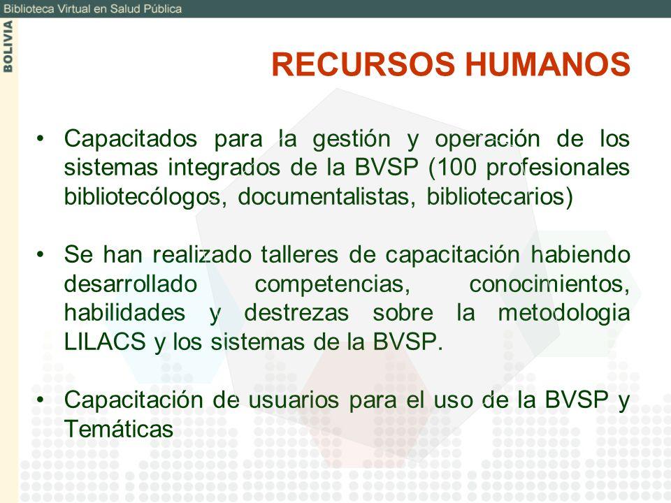 Capacitados para la gestión y operación de los sistemas integrados de la BVSP (100 profesionales bibliotecólogos, documentalistas, bibliotecarios) Se