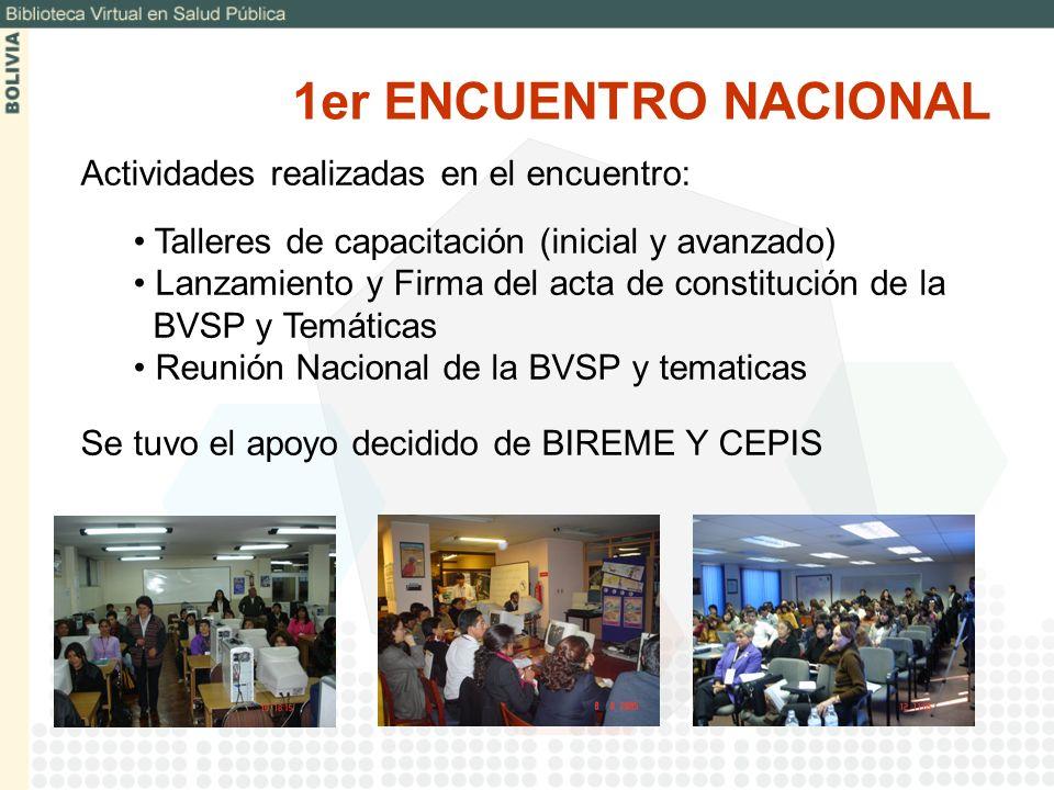 Actividades realizadas en el encuentro: Talleres de capacitación (inicial y avanzado) Lanzamiento y Firma del acta de constitución de la BVSP y Temáti