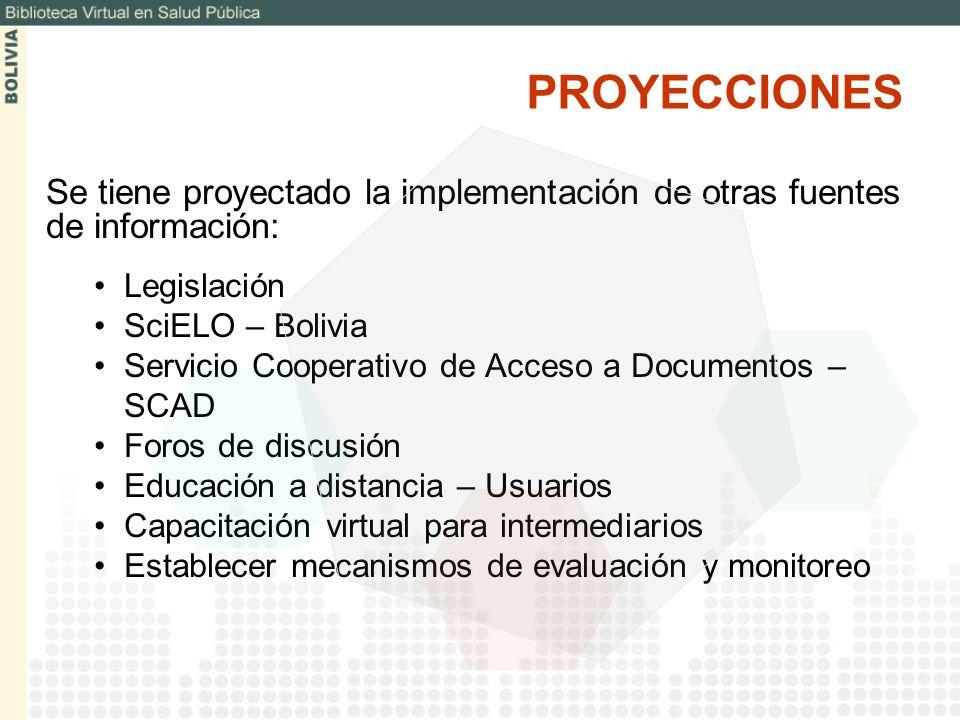 Se tiene proyectado la implementación de otras fuentes de información: Legislación SciELO – Bolivia Servicio Cooperativo de Acceso a Documentos – SCAD