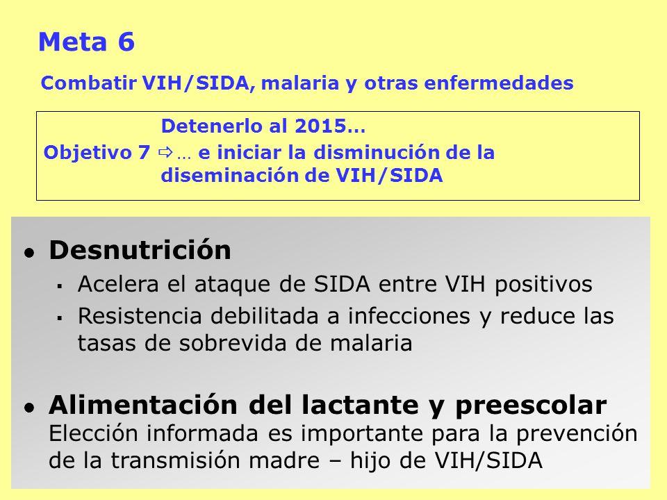 Meta 6 Combatir VIH/SIDA, malaria y otras enfermedades Detenerlo al 2015… Objetivo 7 … e iniciar la disminución de la diseminación de VIH/SIDA Desnutr