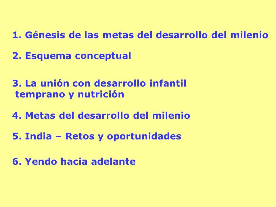 1. Génesis de las metas del desarrollo del milenio 2. Esquema conceptual 3. La unión con desarrollo infantil temprano y nutrición 4. Metas del desarro