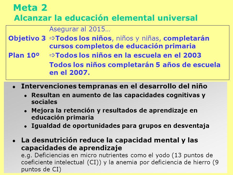 Meta 3 Promover la igualdad de género y el apoderamiento de la mujer Eliminar al 2005… Objetivo 4 … desigualdad de género en educación primaria y secundaria, y en todos los niveles de educación antes del 2015 Las prácticas de atención en el lactante y educación a los padres ayudan a promover las oportunidades de igualdad en aprendizaje para niñas y niños Mejor nutrición y status del hierro en niñas mejora las capacidades de aprendizaje, probable retención y futuras elecciones.