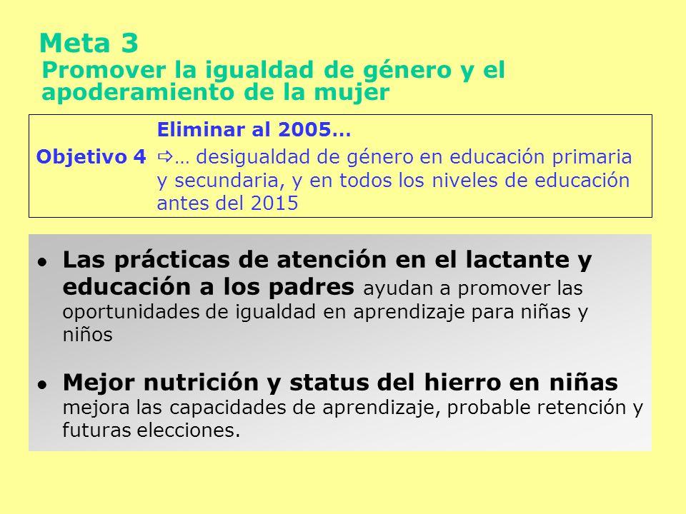 Meta 4 Reducir la mortalidad infantil Reducirla en 2/3 entre 1990-2015 Objetivo 5 … Tasa de mortalidad de menores de 5 años 10º Plan Tasa de mortalidad infantil de 45 al 2007 Tasa de mortalidad infantil de 28 al 2012 Más del 50% de toda la mortalidad infantil está directa o indirectamente asociada con desnutrición Alrededor del 25% de la mortalidad en lactantes puede ser prevenida a través de la nutrición y de las intervenciones en la atención del lactante