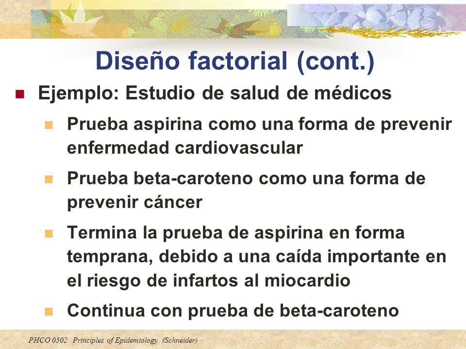 PHCO 0502 Principles of Epidemiology (Schneider) Diseño factorial (cont.) Ejemplo: Estudio de salud de médicos Prueba aspirina como una forma de preve