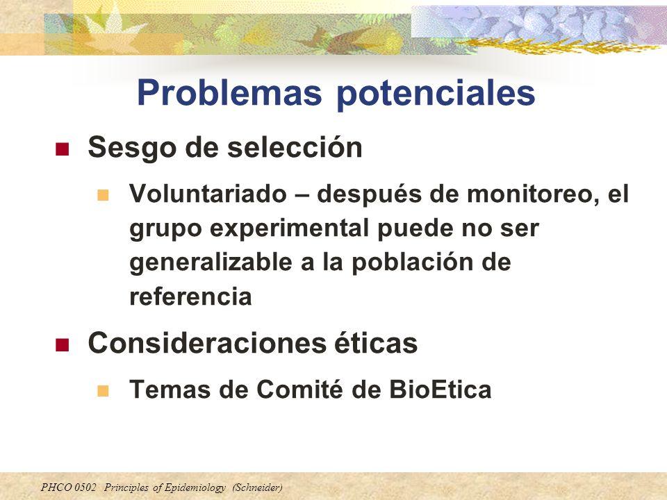 PHCO 0502 Principles of Epidemiology (Schneider) Problemas potenciales Sesgo de selección Voluntariado – después de monitoreo, el grupo experimental p