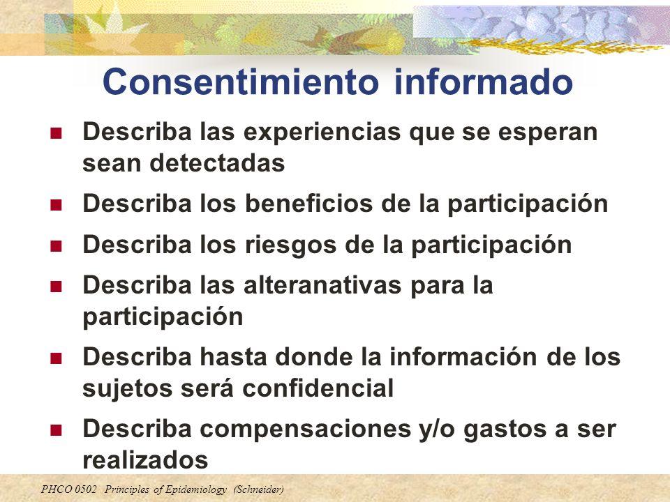 PHCO 0502 Principles of Epidemiology (Schneider) Consentimiento informado Describa las experiencias que se esperan sean detectadas Describa los benefi