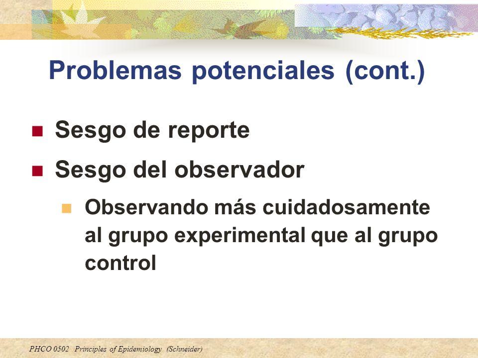 PHCO 0502 Principles of Epidemiology (Schneider) Problemas potenciales (cont.) Sesgo de reporte Sesgo del observador Observando más cuidadosamente al