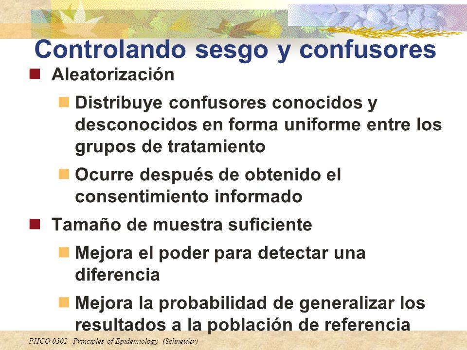 PHCO 0502 Principles of Epidemiology (Schneider) Controlando sesgo y confusores Aleatorización Distribuye confusores conocidos y desconocidos en forma