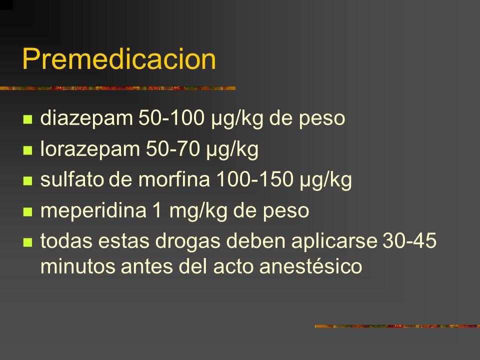 Premedicacion diazepam 50-100 µg/kg de peso lorazepam 50-70 µg/kg sulfato de morfina 100-150 µg/kg meperidina 1 mg/kg de peso todas estas drogas deben aplicarse 30-45 minutos antes del acto anestésico