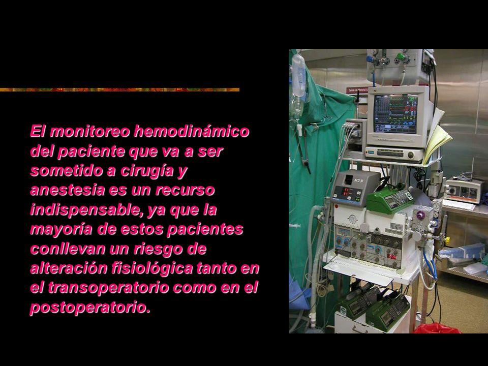 El monitoreo hemodinámico del paciente que va a ser sometido a cirugía y anestesia es un recurso indispensable, ya que la mayoría de estos pacientes c