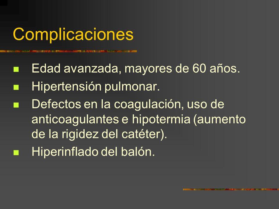 Complicaciones Edad avanzada, mayores de 60 años. Hipertensión pulmonar. Defectos en la coagulación, uso de anticoagulantes e hipotermia (aumento de l