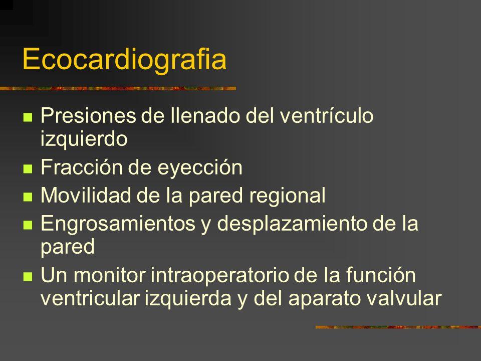 Ecocardiografia Presiones de llenado del ventrículo izquierdo Fracción de eyección Movilidad de la pared regional Engrosamientos y desplazamiento de la pared Un monitor intraoperatorio de la función ventricular izquierda y del aparato valvular