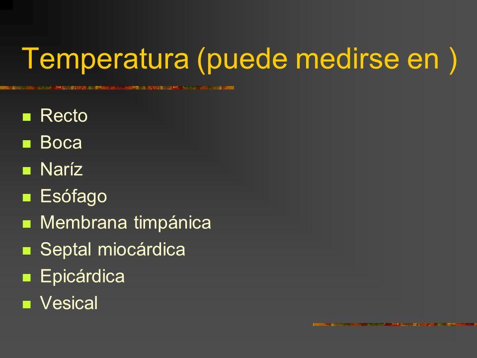 Temperatura (puede medirse en ) Recto Boca Naríz Esófago Membrana timpánica Septal miocárdica Epicárdica Vesical
